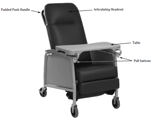 lumex three position recliner chair  bb0