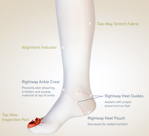 albahealth anti embolism lifespan knee high open toe stockings 553