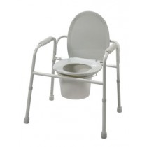 Steel Frame Commode Chair with Plastic Armrest