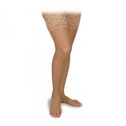 ctiva Sheer Therapy Thigh High Compression Socks Silicone Lace Top OPEN TOE 15-20 mmHg