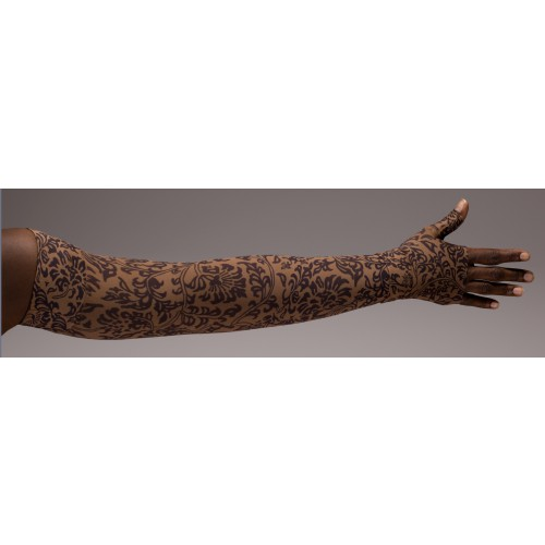 LympheDivas Damask Mocha Compression Arm Sleeve 20-30 mmHg w/ Diva Diamond Band