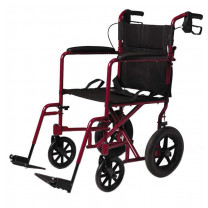 "Red Medline Lightweight Transport Adult Folding Wheelchair with 12"" Wheels"