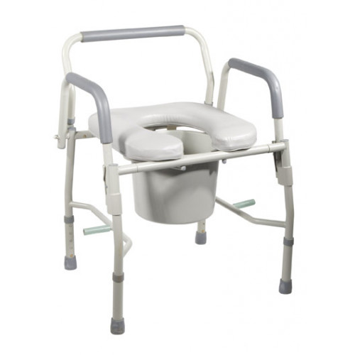 Bedside Commode Steel with Drop Arms and Padded Seat
