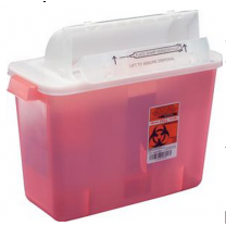 2 Gallon Transparent Red SharpSafety Sharps Container with Counterbalance Lid 8534SA