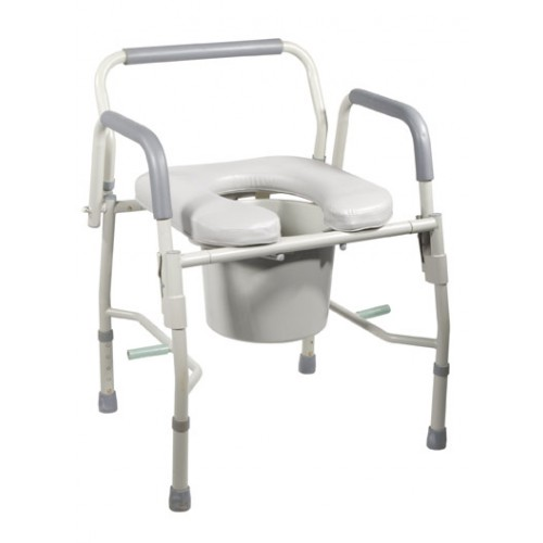 Bedside Commode Steel with Drop Arms and Seat