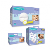 Kit Includes Lanolin Breast Cream, Nursing Pads and Milk Storage Bags