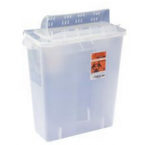 2 Gallon Transparent Red SharpSafety Sharps Container with Always Open Lid 85321R