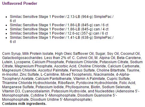 similac sensitive infant formula w iron 9bf