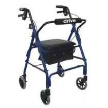 Lever Brake 4 Wheel Aluminum Walker Rollator by Drive