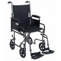 Drive 19 Inch Steel Transport Chair with Removable Desk Arm