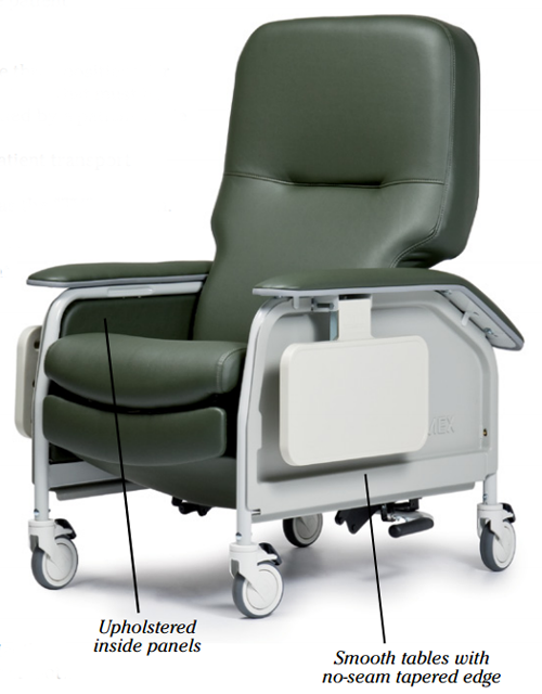 lumex deluxe clinical care geri chair recliner with tray 187