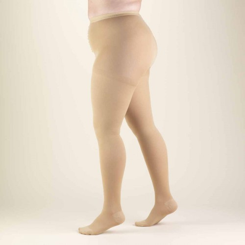 Beige Compression Pantyhose for Full Figure