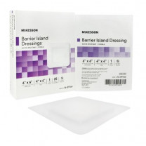 McKesson Composite Barrier Island Dressing Water Resistant 6 x 6 Inch - Sterile