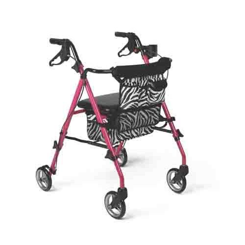 Posh Pink Zebra Rollator Walker