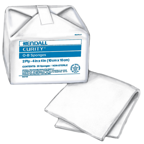 Covidien 7053 Curity 4 x 4 Inch OB Sponges 2 Ply, 100% Cotton