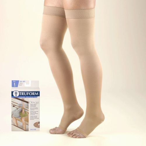 TruForm Opaque Thigh High Open Toe 20-30 mmHg