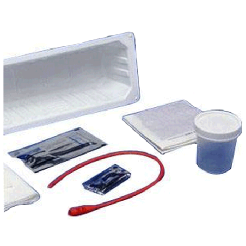 Kenguard Urethral Catheter Tray with 14 French Red Rubber Catheter