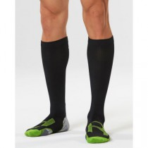 Men's Compression Sock for Recovery, Black/Grey/Green