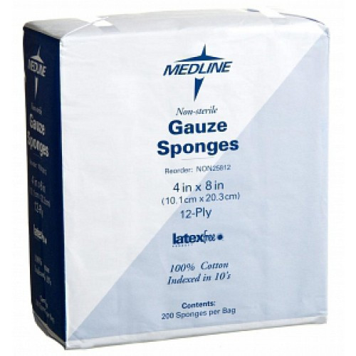 MedLine 4 x 8 inch Woven Gauze Sponges 12 Ply - NON25812
