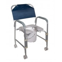 Portable Lightweight Shower Chair Commode with Casters by Drive