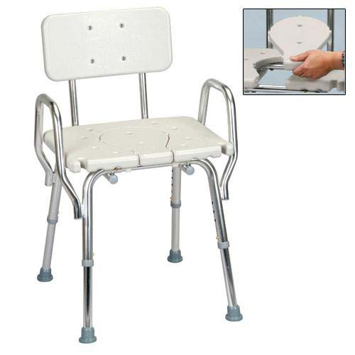 Shower Chair  Molded Cut-Out Seat with Arms and Back