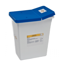 8 Gallon White SharpSafety Medical Waste Container with Gasketed Hinged Lid 8850