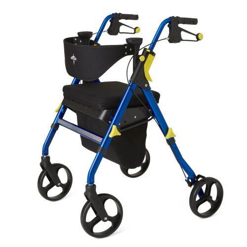 "Medline Premium Empower Folding Mobility Rollator Walker with 8"" Wheels"
