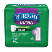 FitRight Stretch Ultra Adult Briefs with Tabs, Heavy Absorbency, 4 packs of 20 (80 total)