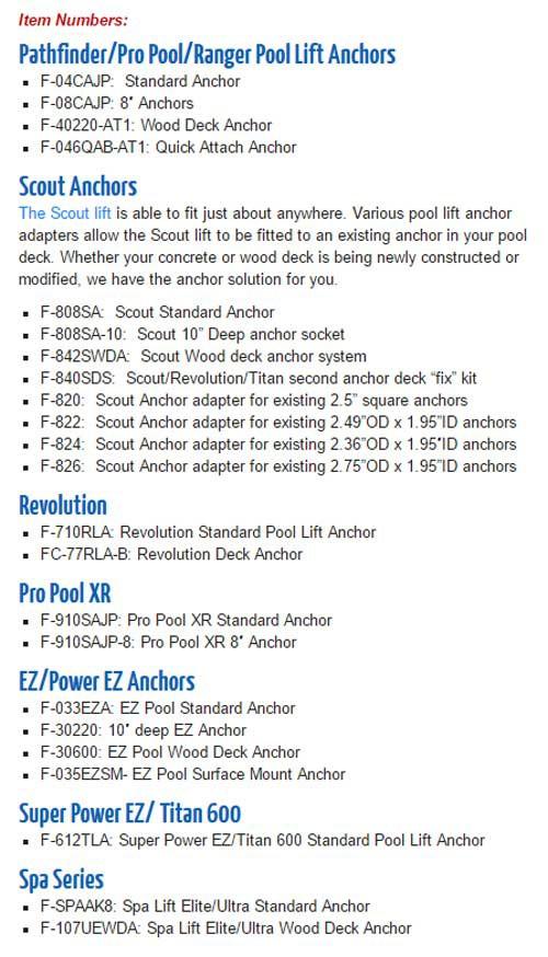 pool lift anchors and spa lift anchors for aqua creek products b8e