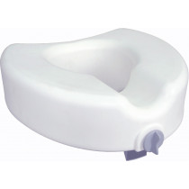 Elongated, Raised Toilet Seat with Lock
