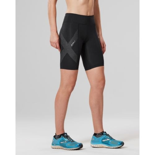 Women's Mid-Rise Compression Short Black/Dotted Reflective Logo