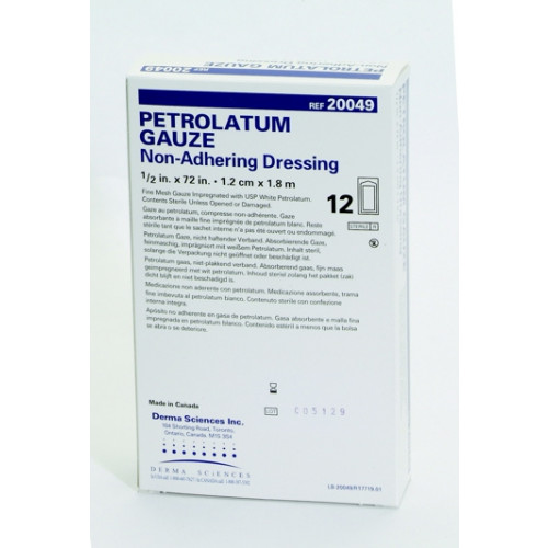 Non-Adherent 1/2 x 72 Inch Impregnated Petrolatum Gauze Dressing - DKC20049