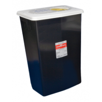 18 Gallon Black SharpSafety Waste Container with Hinged Lid 8617RC