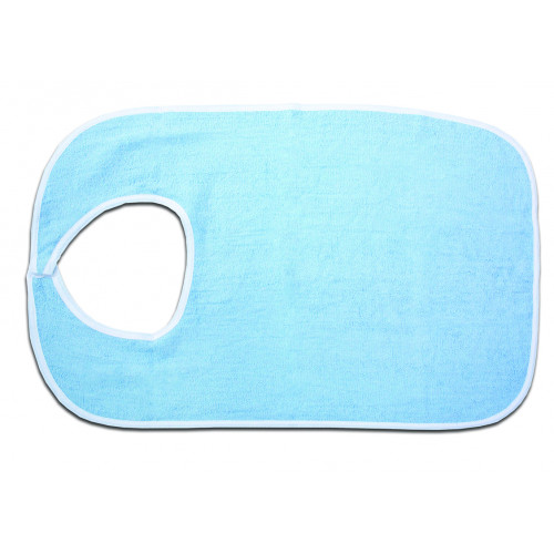 Blue Terry Cloth Bib with Hook & Loop Closure