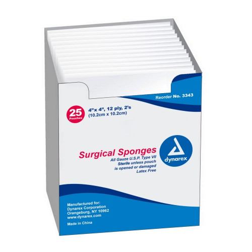 Dynarex 3343 Surgical Gauze Sponges 4 x 4 Inch, 12 Ply, Sterile