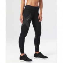 Mid-Rise Compression Tights Black, Dotted Reflective Logo