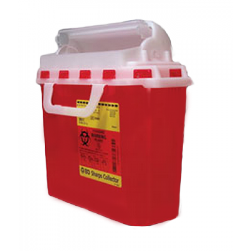5.4 Quart Red BD Sharps Container with Counterbalanced Door 305517