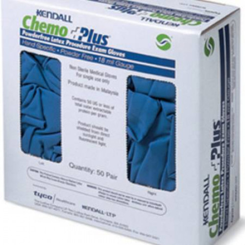 ChemoPlus Latex Exam Gloves Textured Fingertips Blue Power Free - NonSterile