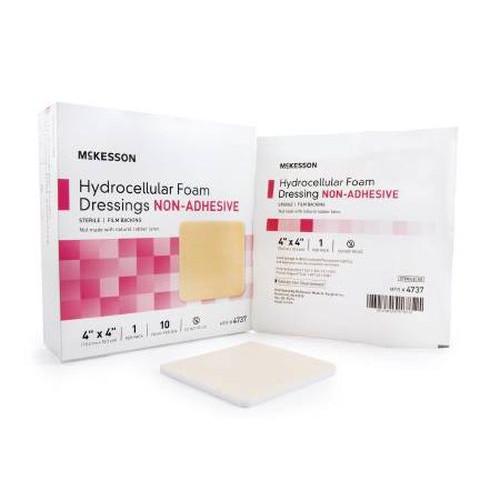Meckesson 4737 Non-Adhesive Hydrocelluar Foam Dressing 4 x 4 Inch - Sterile