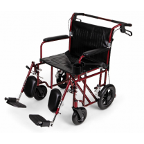 """Medline Heavy Duty Bariatric Transport Chair, Extra Wide 22"""" Seat, Permanent Full-Length Arms, Elevating Legrests, Red Frame"""
