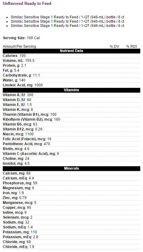 similac sensitive infant formula w iron f59