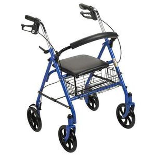 Four-Wheel Rollator Walker with Fold-Up Removable Back Support