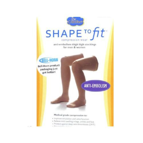 Shape To Fit Unisex Anti-Embolism Open-Toe Thigh Highs 18 mmHg