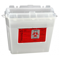 5 Quart Transparent Beige Sharps Container with Rotating Cylinder Opening 175-020