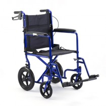 Invacare Lightweight Aluminum Transport Chair Blue Large Rear Wheel