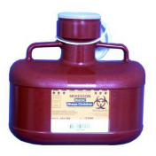 4.8 Quart Red Medi-Pak Sharps Disposal Container with Vertical Entry Lid 101-184