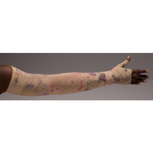 LympheDivas Beige Compression Arm Sleeve 20-30 mmHg w/ Diva Diamond Band