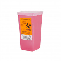 1 Quart Transparent Red Stackable Sharps Container with Biohazard Symbol 8702T