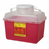 14 Quart Red BD Stackable Sharps Container Large Funnel with Clear Top 305480
