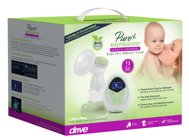 drive pure expressions single channel electric breast pump d61